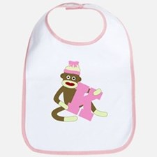 Sock Monkey Monogram Girl K Baby Bib