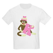 Sock Monkey Monogram Girl K T-Shirt