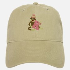Sock Monkey Monogram Girl K Baseball Baseball Cap