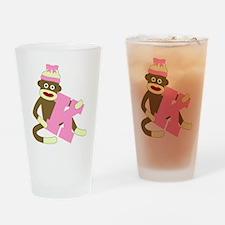 Sock Monkey Monogram Girl K Drinking Glass