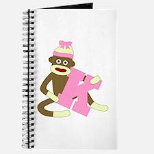 Sock Monkey Monogram Girl K Journal