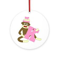 Sock Monkey Monogram Girl K Ornament (Round)