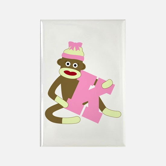 Sock Monkey Monogram Girl K Rectangle Magnet