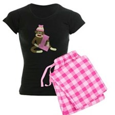Sock Monkey Monogram Girl L Pajamas