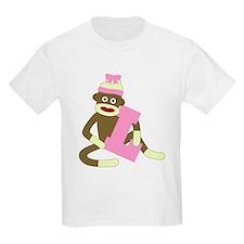 Sock Monkey Monogram Girl L T-Shirt