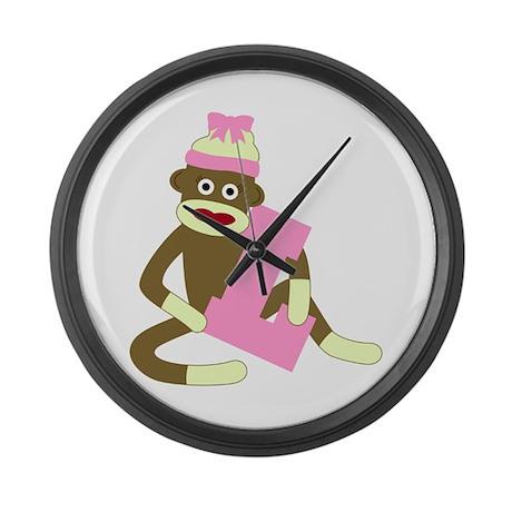 Sock Monkey Monogram Girl L Large Wall Clock