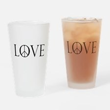 Love Peace Sign Drinking Glass