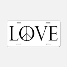 Love Peace Sign Aluminum License Plate