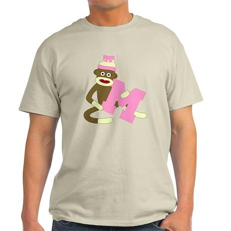 Sock Monkey Monogram Girl M Light T-Shirt