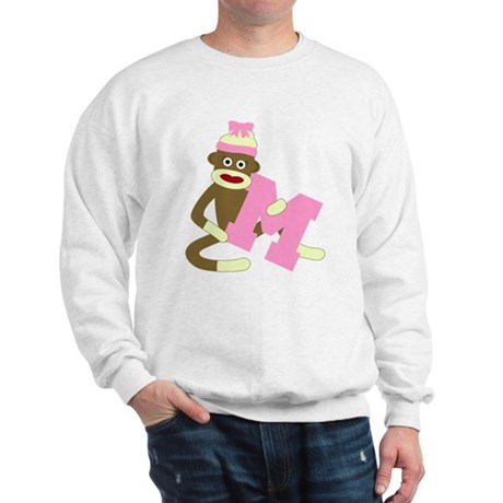 Sock Monkey Monogram Girl M Sweatshirt