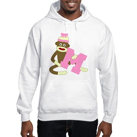 Sock Monkey Monogram Girl M Hooded Sweatshirt