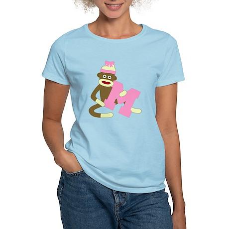 Sock Monkey Monogram Girl M Women's Light T-Shirt