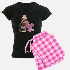Sock Monkey Monogram Girl M Pajamas