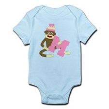 Sock Monkey Monogram Girl M Infant Bodysuit