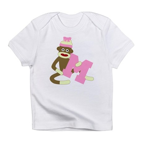 Sock Monkey Monogram Girl M Infant T-Shirt