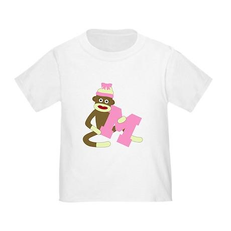 Sock Monkey Monogram Girl M Toddler T-Shirt