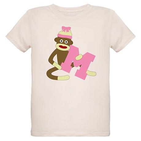 Sock Monkey Monogram Girl M Organic Kids T-Shirt