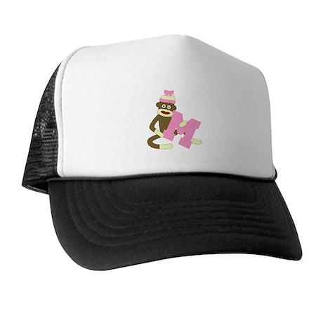 Sock Monkey Monogram Girl M Trucker Hat