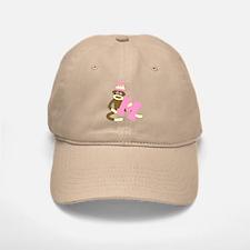 Sock Monkey Monogram Girl M Baseball Baseball Cap