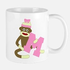 Sock Monkey Monogram Girl M Coffee Mug