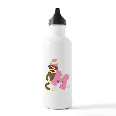 Sock Monkey Monogram Girl M Stainless Water Bottle