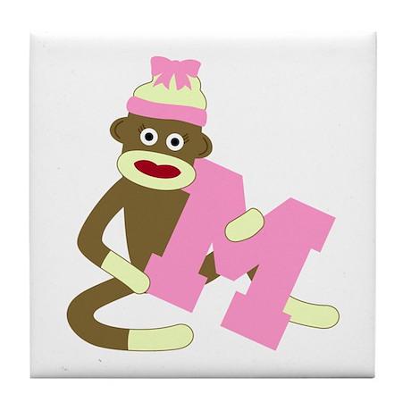 Sock Monkey Monogram Girl M Tile Coaster