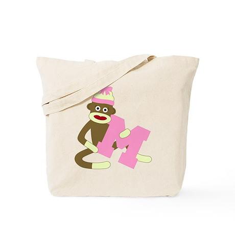 Sock Monkey Monogram Girl M Tote Bag