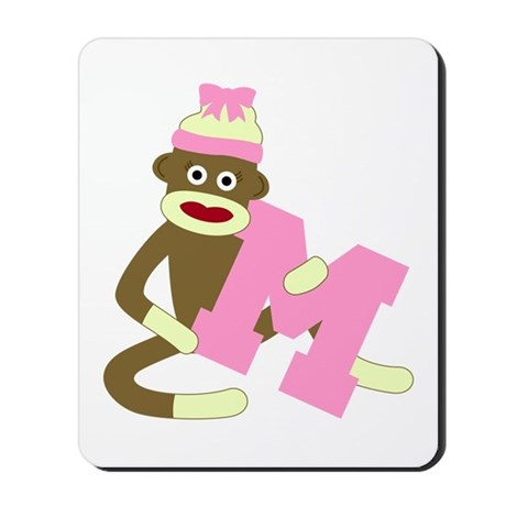 Sock Monkey Monogram Girl M Mousepad