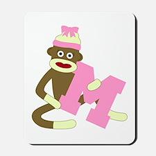 Sock Monkey Monogram Girl M Mousepad
