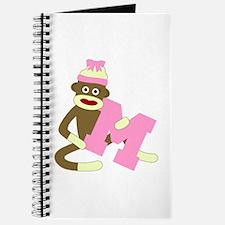 Sock Monkey Monogram Girl M Journal