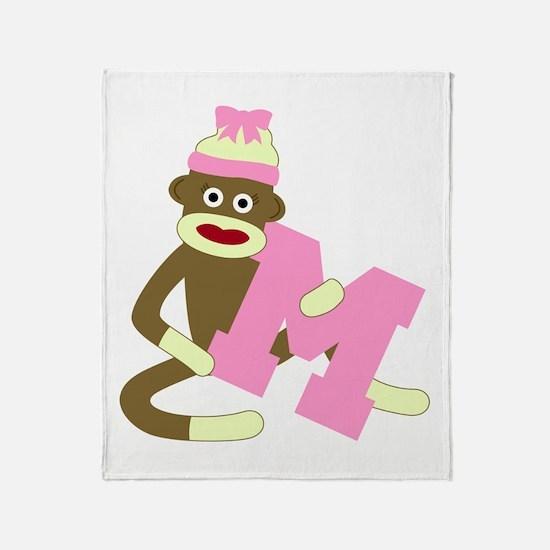 Sock Monkey Monogram Girl M Throw Blanket