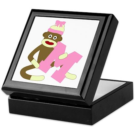 Sock Monkey Monogram Girl M Keepsake Box