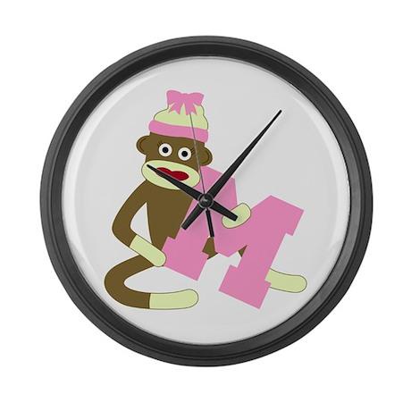 Sock Monkey Monogram Girl M Large Wall Clock