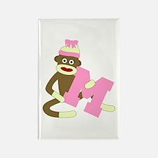 Sock Monkey Monogram Girl M Rectangle Magnet