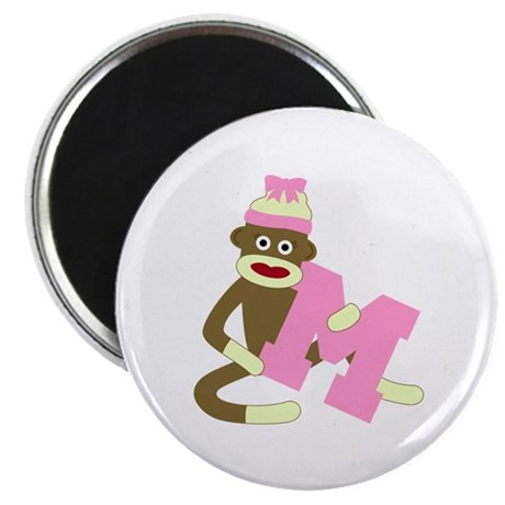 Sock Monkey Monogram Girl M Magnet