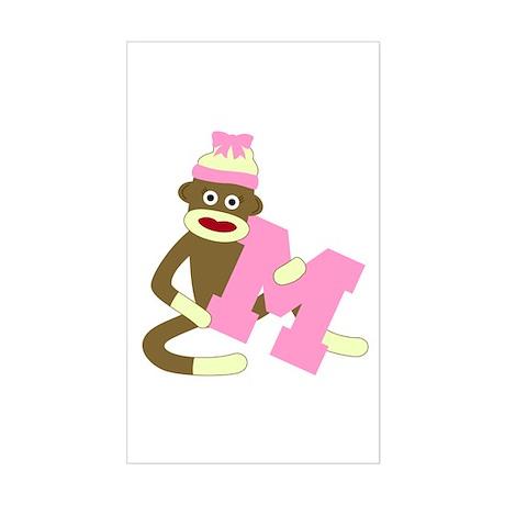 Sock Monkey Monogram Girl M Sticker (Rectangle)