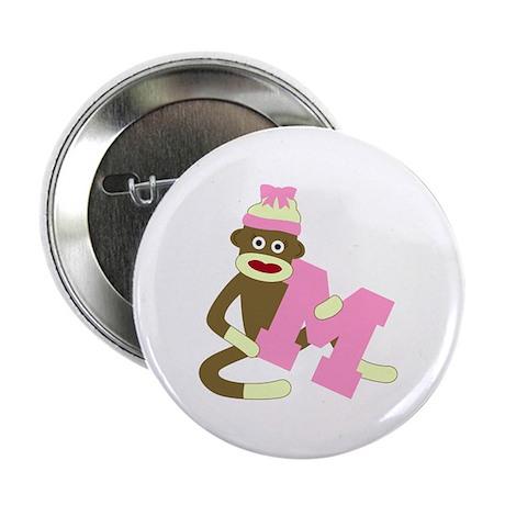 "Sock Monkey Monogram Girl M 2.25"" Button"