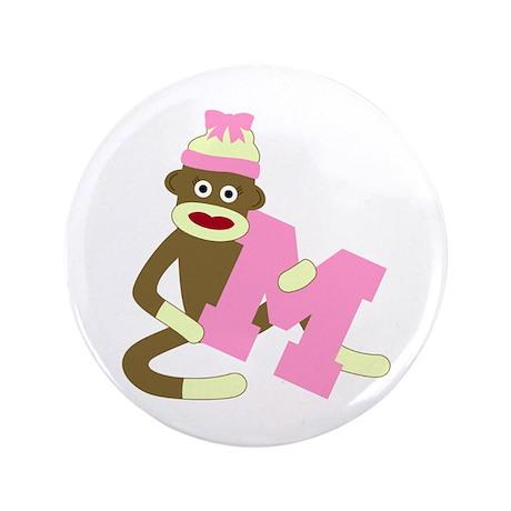 "Sock Monkey Monogram Girl M 3.5"" Button"