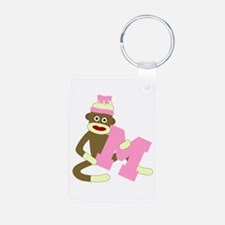 Sock Monkey Monogram Girl M Aluminum Keychain