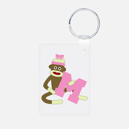 Sock Monkey Monogram Girl M Aluminum Keychain