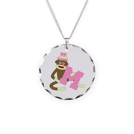 Sock Monkey Monogram Girl M Necklace Circle Charm
