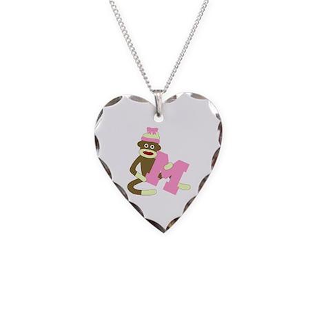 Sock Monkey Monogram Girl M Necklace Heart Charm