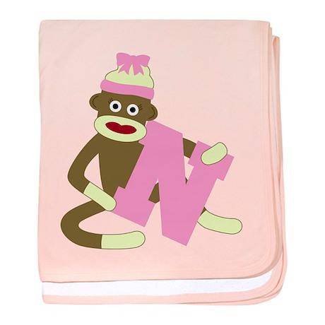 Sock Monkey Monogram Girl N baby blanket