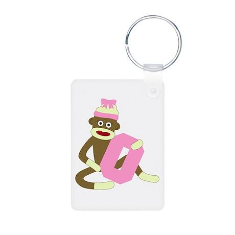 Sock Monkey Monogram Girl O Aluminum Keychain