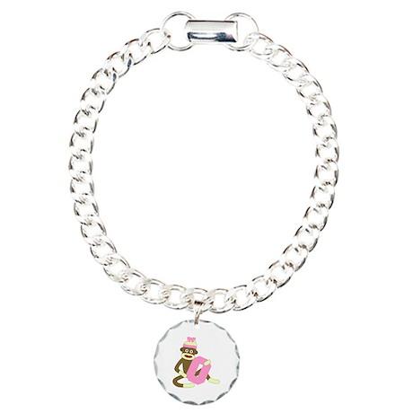 Sock Monkey Monogram Girl O Charm Bracelet