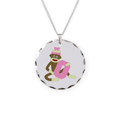Sock Monkey Monogram Girl O Necklace Circle Charm