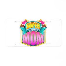 Pink Super Mom Aluminum License Plate