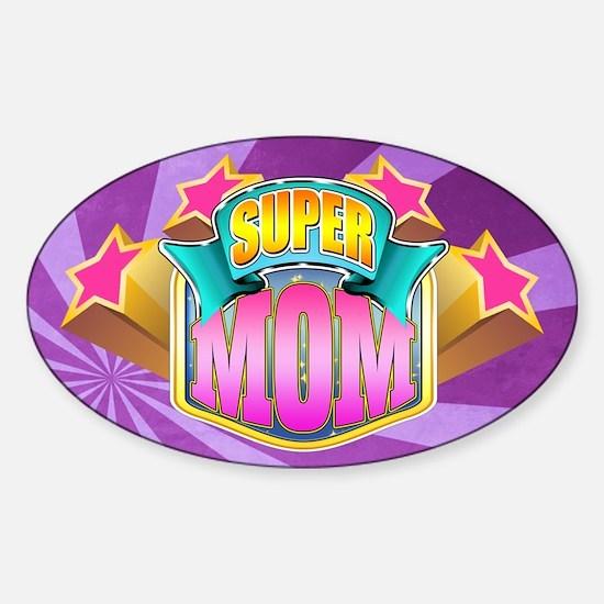 Pink Super Mom Sticker (Oval)