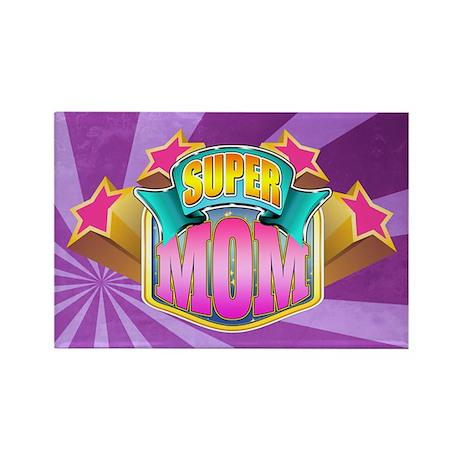 Pink Super Mom Rectangle Magnet