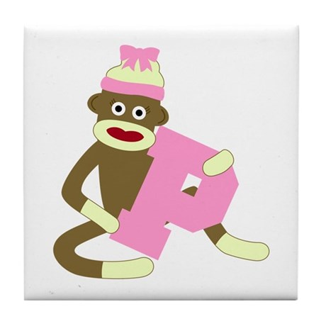 Sock Monkey Monogram Girl P Tile Coaster